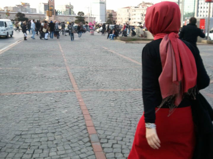Woman in red Headscarf, Taskim Square, Istanbul