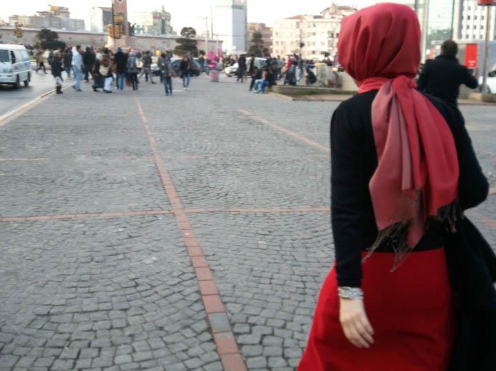 Woman in red Headscarf, Taskim Square, Istanbul