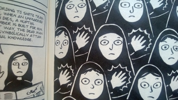 Girl wearing a veil--from Marjane Satrapi's Persepolis