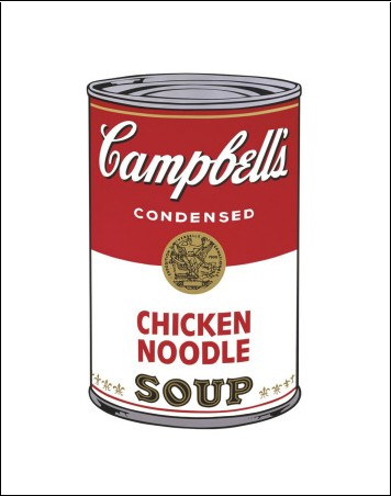A can of chicken noodle soup
